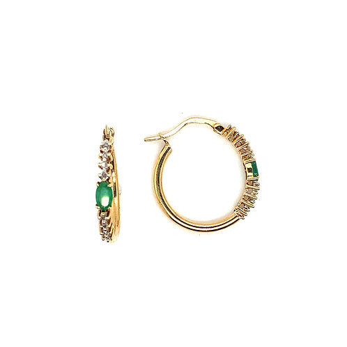 Women's Fancy 14K Gold Diamond and Emerald Hoop Earrings