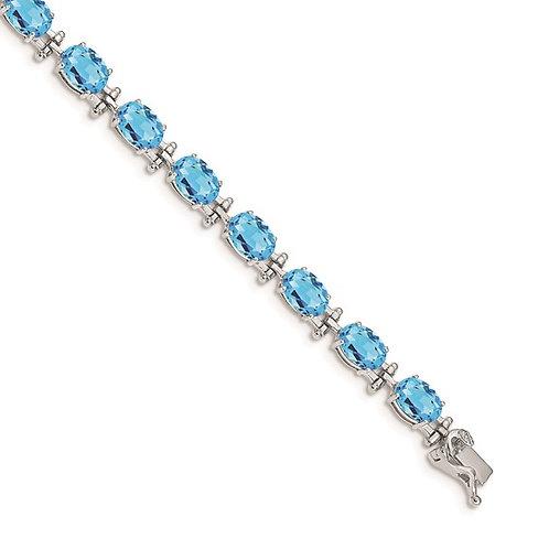"14k White Gold Blue Topaz Tennis Bracelet Measures 7"" 5mm Gorgeous Piece!"