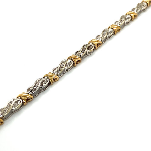 Stunning Bling! White, Yellow Gold & Diamond Bracelet Fancy Tennis Link 1.00ct