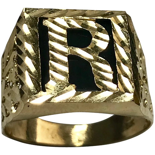 10 K Yellow Gold Onyx Initial R Signet Ring