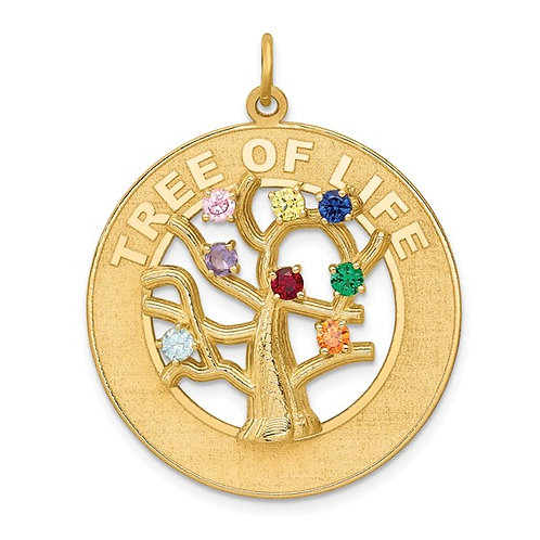 14k Tree Of Life Pendant CZ & Synthetic Gemstones Bring This Piece To Life! 4.3g