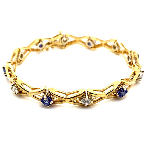 Gorgeous 14K Gold EGL Certified 1.38 Carat Diamond Tanzanite Bracelet