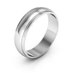 Men's 5mm Handcrafted 14k White Gold Wedding Band Ring High Gloss All Sizes