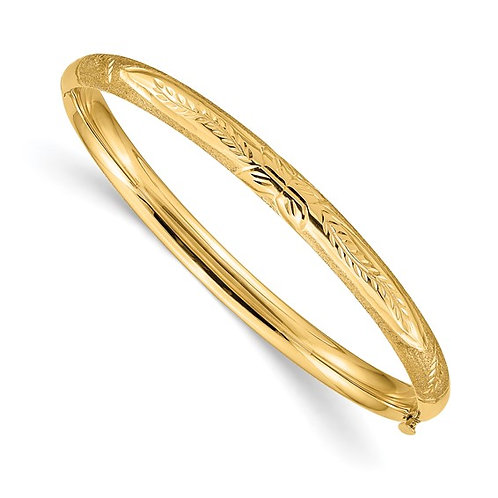14k Handcrafted Italian Yellow Florentine Gold Bangle Bracelet for Baby Girl