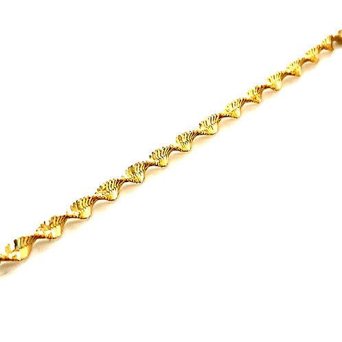 "Twisted 14k Yellow Gold Diamond Cut Bracelet Measures 7 1/4"" Sparkle"