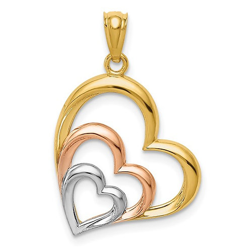 Beautiful White Gold 3D Heart Pendant
