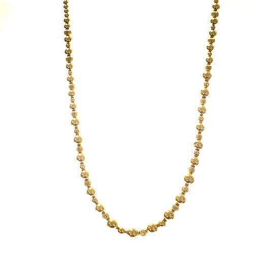 """Beautiful Beaded Handcrafted 14K Yellow Gold Necklace Measures 18"""" Gorgeous!"""