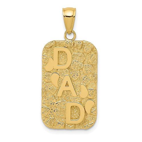 14k Yellow Gold DAD Nugget Charm Pendant Gorgeous Piece!