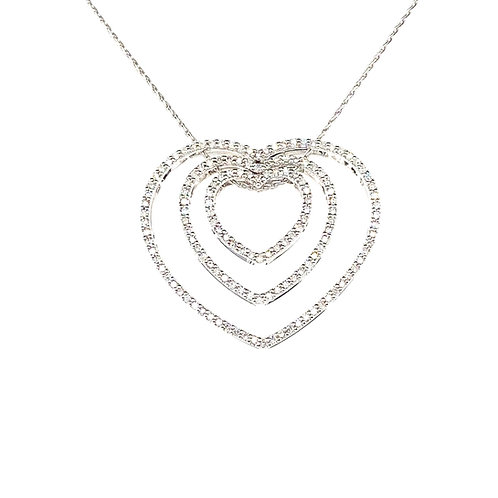 Elegant 14K White Gold 1 Carat Diamond Hearts Pendant Necklace