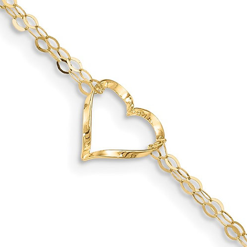 Beautiful Double Strand Heart Anklet Ankle Bracelet Handcrafted 14K Yellow Gold