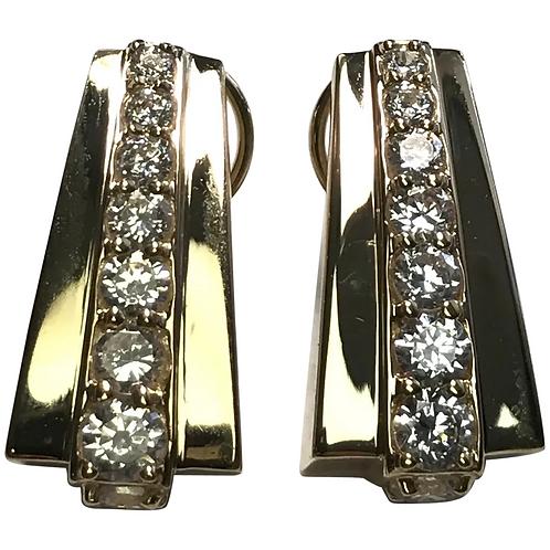 14 K Yellow Gold Simulated Diamond Hoop Lever Back Earrings