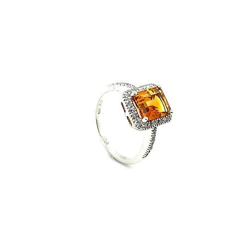 Stunning 14K White Gold 1.5 Carats Citrine Ring