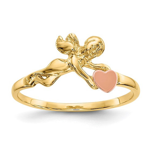 Sweet Dainty 14K Two Tone Angel & Heart Ring Super Stylish Fun Piece!
