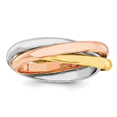 Women's Beautiful Tri-Color 14k Handcrafted Gold Polished Rolling Ring 5.07g 6mm