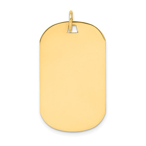 14k Solid Gold Plain .013 Guage Engravable Dog Tag Disc Charm Pendant