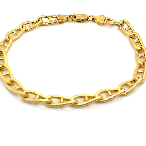 Fancy Link Satin Finish Handcrafted 14k Gold Bracelet Measures 7.5