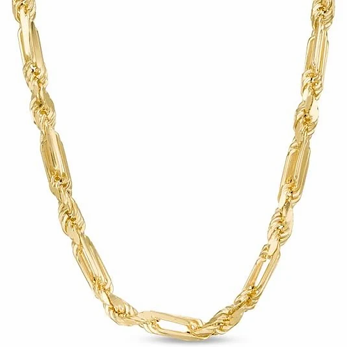 "Large Hollow 10K Figarope Milano Chain Necklace 27"" 9.5mm GORGEOUS!"