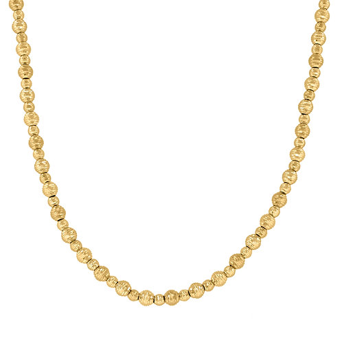 14k Fancy Diamond Cut Beaded Handcrafted Yellow Gold Necklace 12.2g Measures 20""