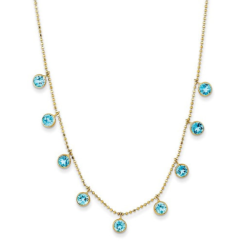 "14k Yellow Gold & Swiss Blue Topaz Necklace Measures 18"" w/2""Ext. Solid"