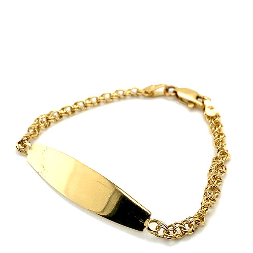 Beautiful Fancy Circle Link ID Bracelet 14k Yellow Gold 4mm Measures 6.5""