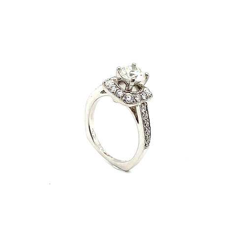 Stunning 18K White Gold IGI Certified 1.73 Carats Diamond Engagement Ring