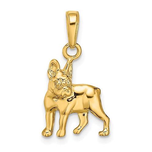 14k Yellow Gold Boston Terrier Dog Charm Pendant