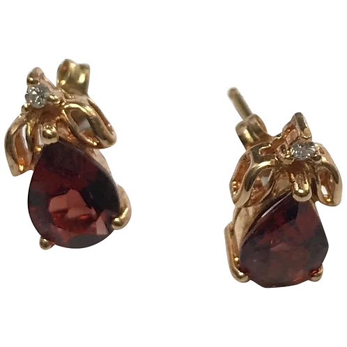 14 K Yellow Gold 1.00 CTW Pear Shape Garnet & Diamond Studs