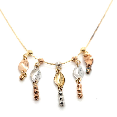 Stunning 14K Tri Gold 18in Necklace
