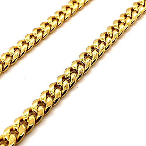 Semi-Solid Cuban Link Chain Necklace 6mm Measures 28""