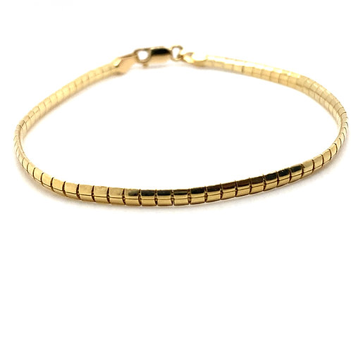 "Handcrafted 10K Yellow Gold Snake Link Bracelet Measures 7"" Thickness is 3mm"