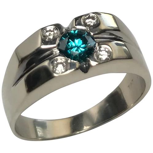 14 K White Gold 0.50 Carat Blue Diamond Solitaire Men's Ring