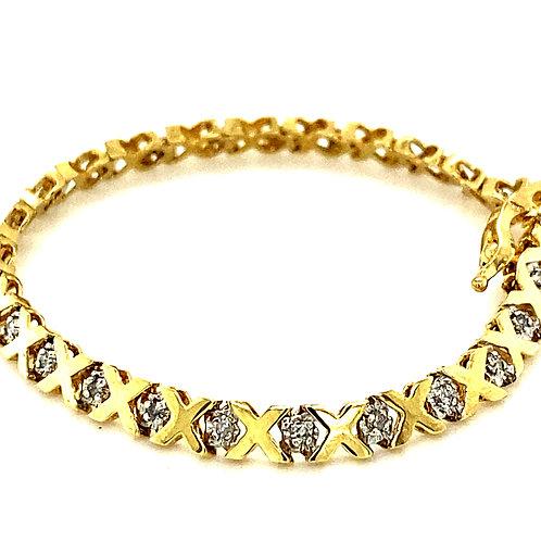 """Super Sweet Child's Baby Girls 10k Gold & .25ct Diamond XO Bracelet Measures 5"""""""