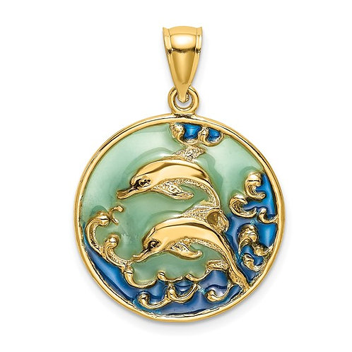 14k Yellow Gold Two Dimensional Dolphins Blue Enameled Charm Pendant GORGEOUS!