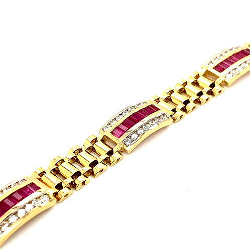 "Gorgeous Mens Gold Bracelet 7ctRuby 3.5ct Diamonds Measures 8"" Statement Piece!"