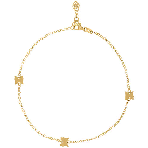 Super Cute! 14k Butterfly Polished Yellow Gold Anklet Ankle Bracelet NICE!