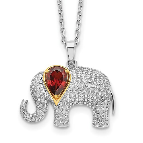 Sterling Silver Gold Accent Garnet & Diamond Elephant Pendant & Necklace 18""