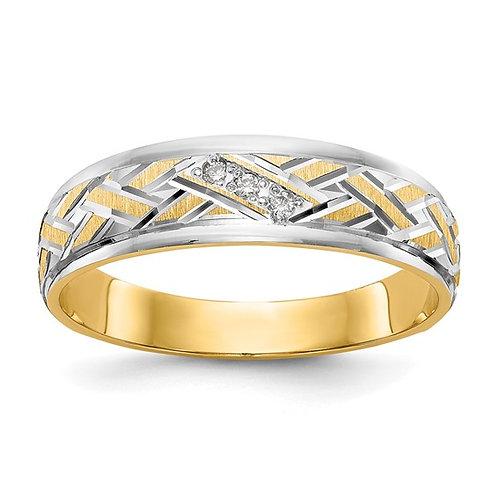 Men's 14k Yellow Gold & Diamond Wedding Band Contemporary