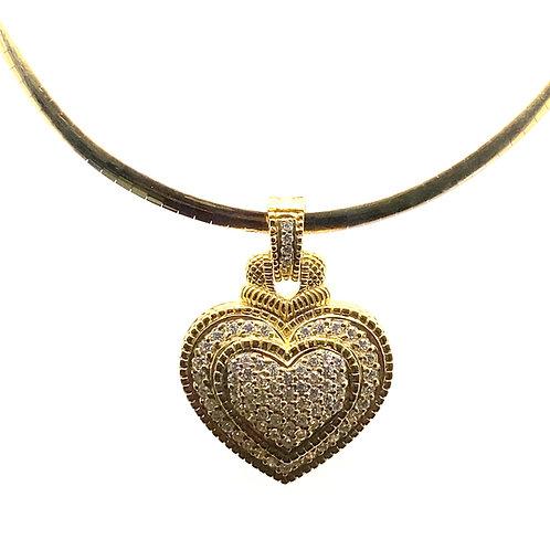 Luxury Set Omega Chain 18k Yellow & White Gold Necklace Diamond Heart Pendant