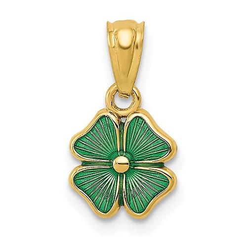 14K Yellow Gold & Green Enameled Four Leaf Lucky Clover Pendant
