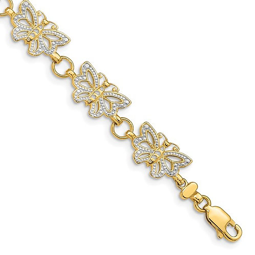 """14k Two Tone Solid Gold Butterfly Bracelet Measures 7"""" 8mm Gorgeous Solid Piece!"""