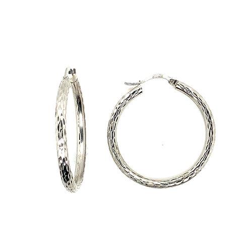Beautiful 14k White Gold RL Hoop Earrings