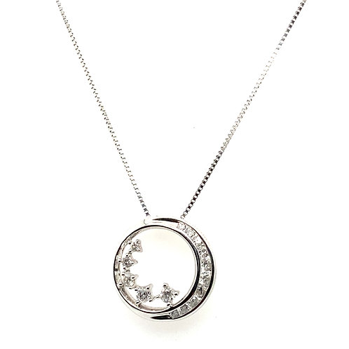 Beautiful Moon & Stars Diamond Pendant & Handcrafted 14k White Gold Diamond Cut