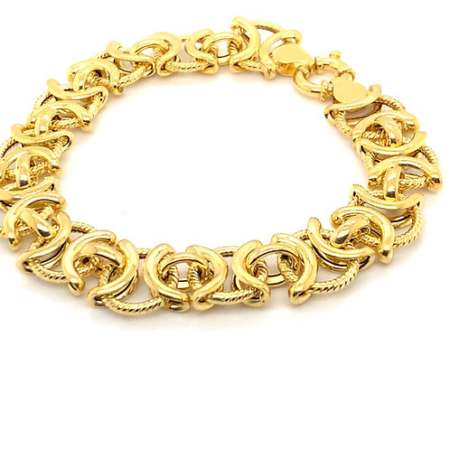 Beautful Thick 13mm 14K Gold Fancy Bracelet