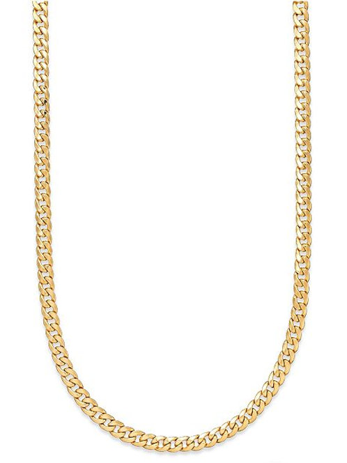 "Semi-Solid Cuban Link Chain Necklace 26"" Handcrafted 10K Yellow Gold 7.5mm"
