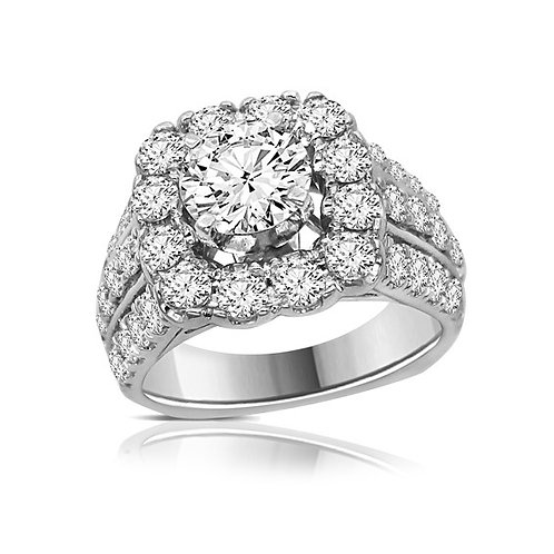Engagement 18K White Gold w/Plat Head Diamond Halo Ring Absolutely Gorgeous!