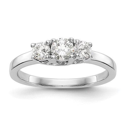 14k White Gold & 3 Diamond Engagement Ring Upscale Luxury Design