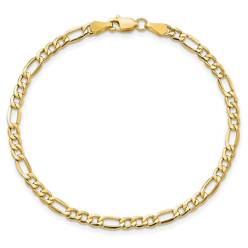 "Handcrafted 14k Yellow Gold Figaro Link Chain Bracelet Measures 7"" 3.5mm"