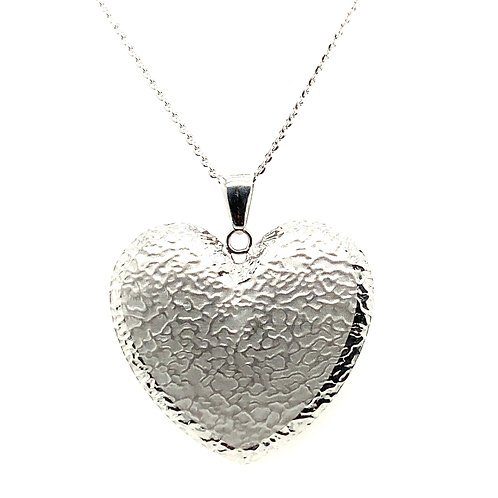 Beautiful Handcrafted 14K White Gold Large Heart Pendant & Necklace Lots of Love