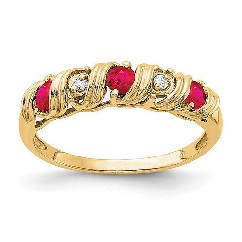 BEAUTIFUL! 14k Yellow Gold Ruby & AA Diamond Ring
