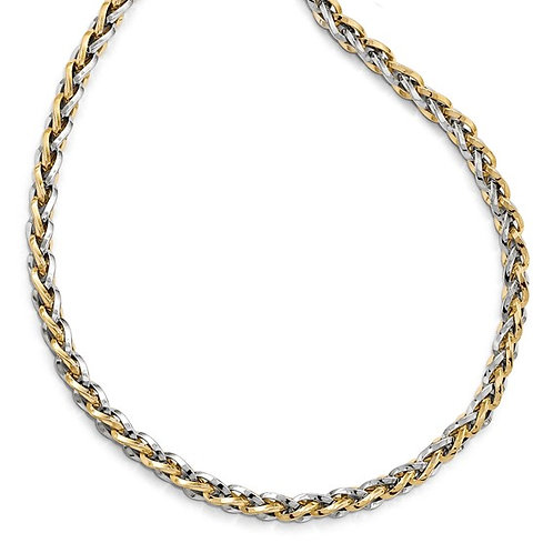 """Ladies 14k Two Tone Thick Gorgeous Necklace Polished Finish Fancy Link18"""""""